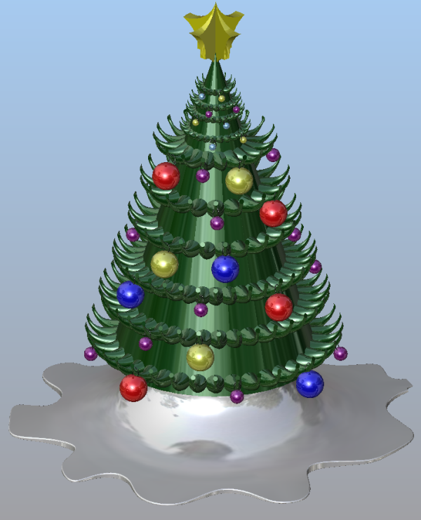 Contemporary Christmas tree designed in KeyCreator CAD