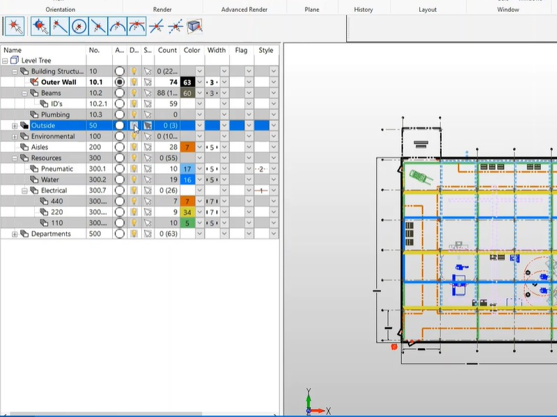 Complex level tree and plant layout drawing